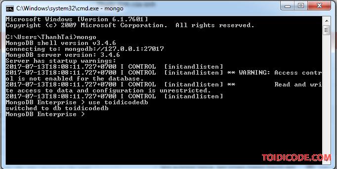 Tạo database trong MongoDB