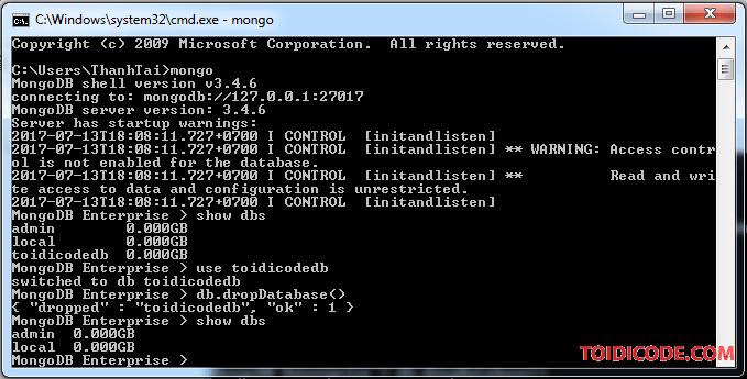 Kiểm tra database đã được xóa trên MongoDB