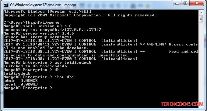 hiển thị tất cả các database có trong MongoDB