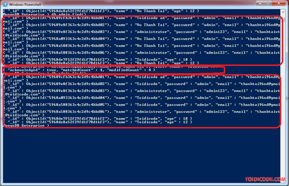 Update Many trong MongoDB