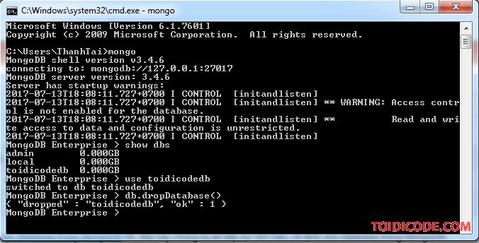 Xóa Database trong MongoDB
