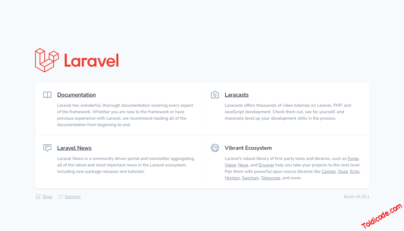 Laravel default welcome page