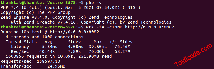PHP Swoole benchmark